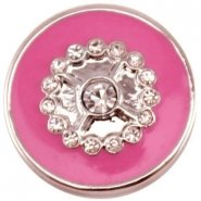 Easy button bloem strass donker roze