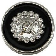 Easy button bloem strass zwart