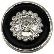 Easy button bloem strass zwart