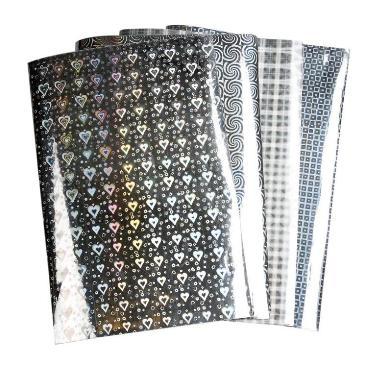 Papier holografisch zilver vierkanten A4