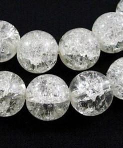 Glaskralen crackle wit 12mm