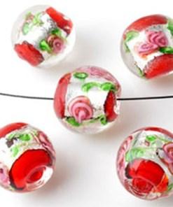 Glaskralen Italian style rond, met zilverfolie en bloemen ± 13x14mm