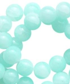 Crackled opal glaskralen 6mm turquoise green