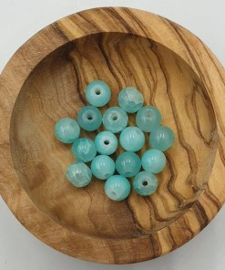 Crackled opal glaskralen 6mm aqua