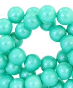 Glaskralen pearl glitter 8mm fresh turquoise