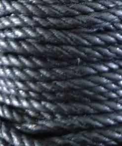 Gedraaid waxkoord 2.5mm Zwart (1M)