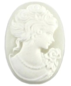Cabochons lichtgrijs wit camee lady 13x18mm