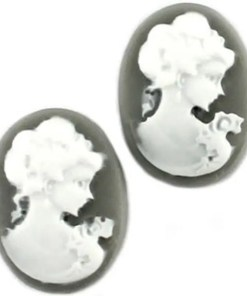 Cabochons antraciet wit camee lady 13x18mm