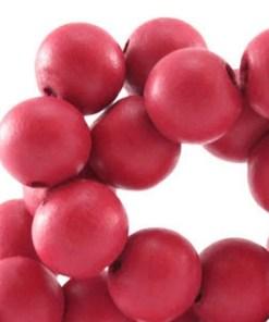 Houten Kralen Rose red 12mm