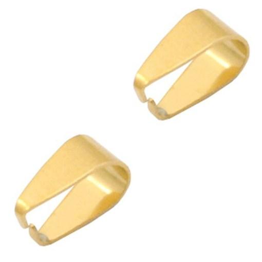 Roestvrij stalen (RVS) Stainless steel onderdelen buighanger ovaal voor bedel 9x5.5mm Goud)