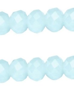 Top facet soft Light blue opal rondel 10x8mm