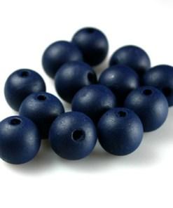 Houten Kralen Donkerblauw Navy 12mm