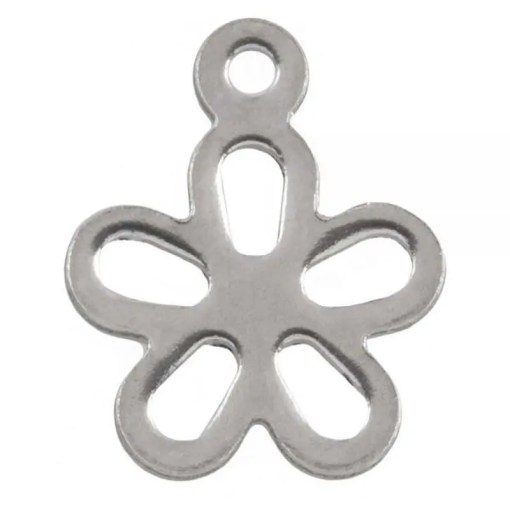 De RVS bedels in de kleRoestvrij stalen (RVS) stainless steel bedels bloem Zilver