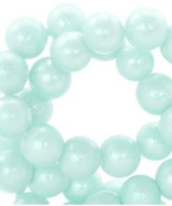 8 mm glaskralen pearl glitter Pastel mint blue