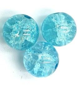 Glaskralen crackle Turquoise 10mm