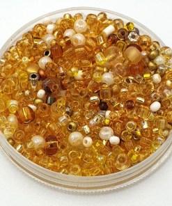 Glaskralen rocaillesmix (1-3mm) Goud