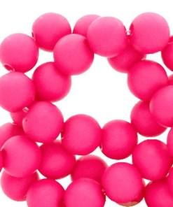 Acryl kralen matt 4mm Fluor pink