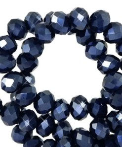 Top Facet kralen 6x4 mm disc Anthracite blue-pearl shine coating