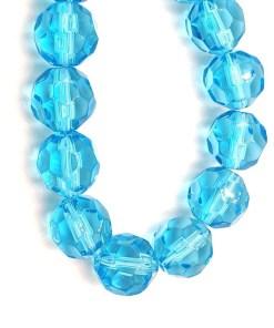 Facet glaskralen rond 8mm Turquoise blauw