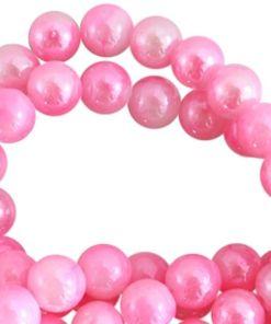 Glaskralen gemeleerd roze wit 12mm