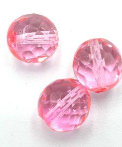 Facet glaskralen rond 12mm Roze