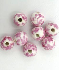 Keramiek kralen 8mm wit met roze bloemetjes