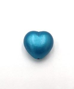 Acryl hartje Turquoise metalic 13x13mm