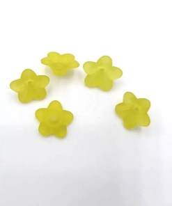 Acryl kraal bloem Licht geel 7x10mm