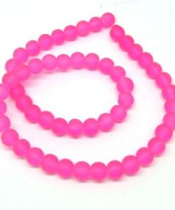 Glaskralen Roze neon 10mm