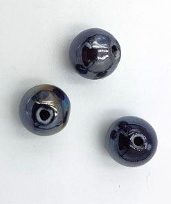 Keramiek kralen Antraciet met olieglans 10mm