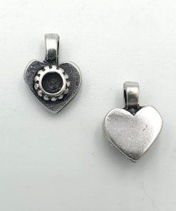 DQ Bedel Hartje 11x16mm antiek zilver met setting voor Schwarovski steentje