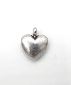 Metaal bedel DQ Hart 15x12mm antiek zilver
