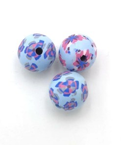 Fimo klei kralen bloem licht blauw wit roze 10mm