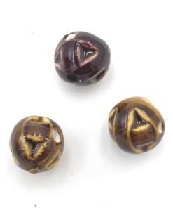 Keramiek kralen goud bruin 14mm