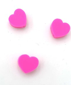 Polymeer kralen hartje 10mm fuchsia roze