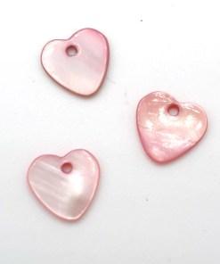 Schelp hanger licht roze hartje 11mm