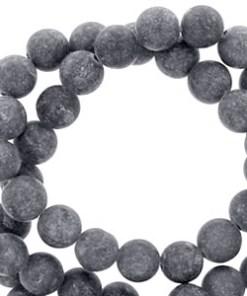 8 mm natuursteen kralen rond mountain jade mat Anthracite grey