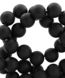6 mm acryl kralen mat Deep black