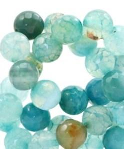 Half edelsteen kralen rond 8mm Agaat facet geslepen light blue zircon opal