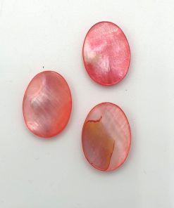 Schelp kraal plat ovaal 12x17mm rood roze