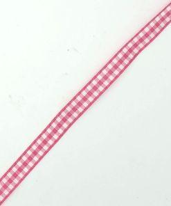 Geruit lint Fuchsia wit 10mm