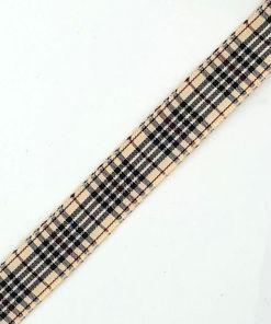 Geruit lint Beige zwart bordeaux 15mm
