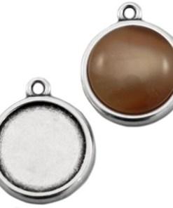 DQ metaal settings 12 mm cabochon Antiek zilver
