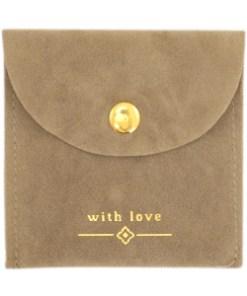 "Sieraad zakje ""with love"" Brown-gold"