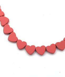 Hematite kralen hartje 6mm zacht rood