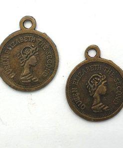 Metalen bedel munt 17x13mm brons
