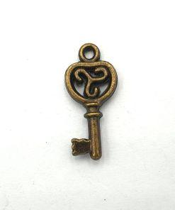 Metalen bedel sleutel 22x10mm brons