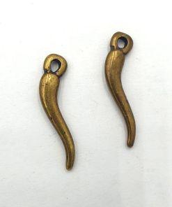 Metalen bedel tand 25mm brons