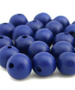 Houten Kralen Royal blue 10mm