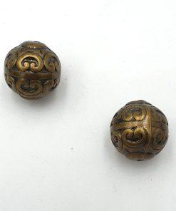 Metallook kralen rond 18mm brons